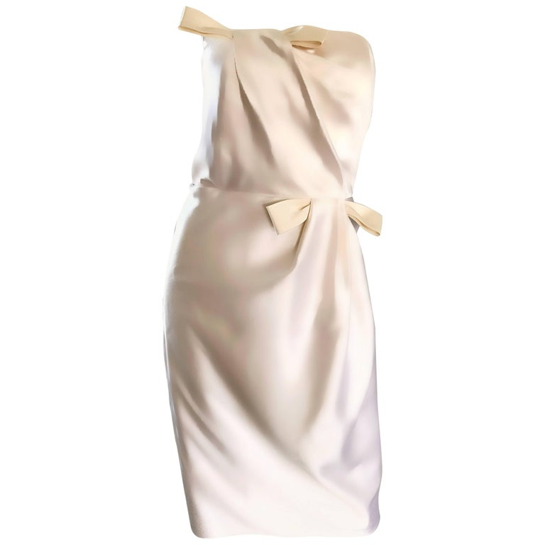 Bill Blass Vintage White and Ivory Silk Satin Size 10 Strapless Dress, 1990s