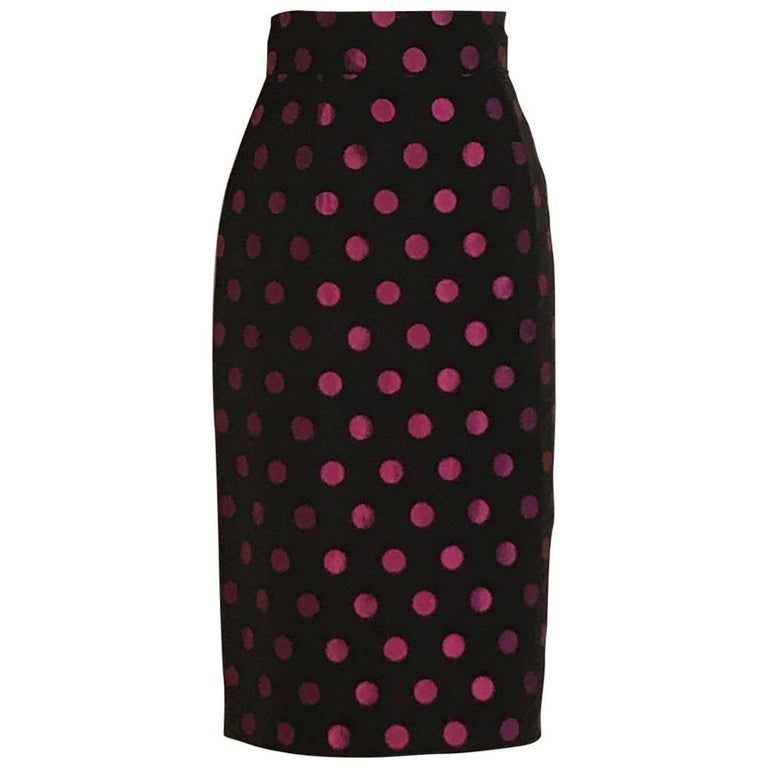 Patrick Kelly Black and Pink Polka Dot Pencil Skirt, 1980s