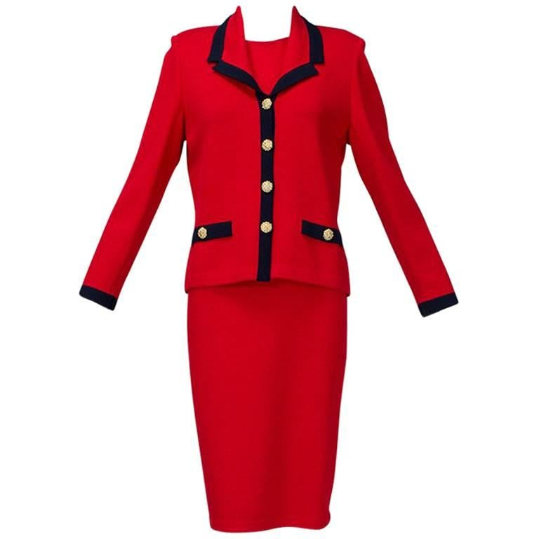 St John Red Nautical Dress Suit with Navy Trim, 1990s