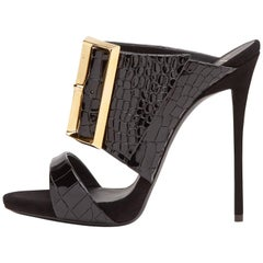 Giuseppe Zanotti New Black Leather Gold Evening Heels W/Box
