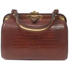 1960s Cognac Crocodile Handbag