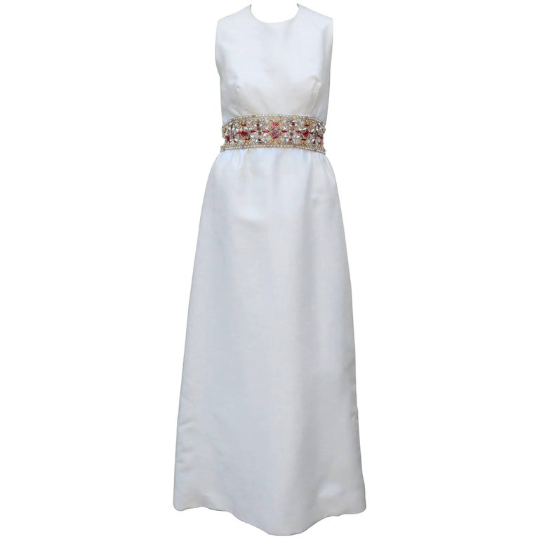 1960's Kent Originals White Dupioni Evening Dress With Bejeweled Empire Waist For Sale