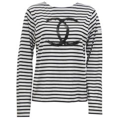 Limited Edition Chanel Christmas 2008 Long Sleeve Striped Logo Shirt
