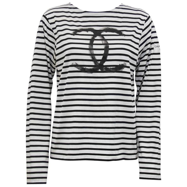 Limited edition chanel christmas 2008 long sleeve striped for Black and white striped long sleeve shirt women