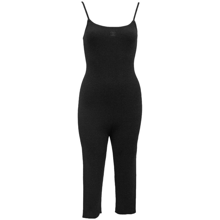 1990's Chanel Black Cashmere Cropped Catsuit