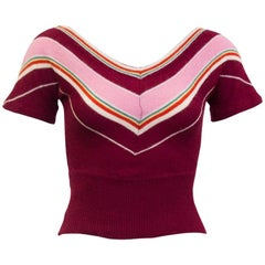 1960s Dorothe Bis Maroon, Pink and Green Chevron Stripe Sweater
