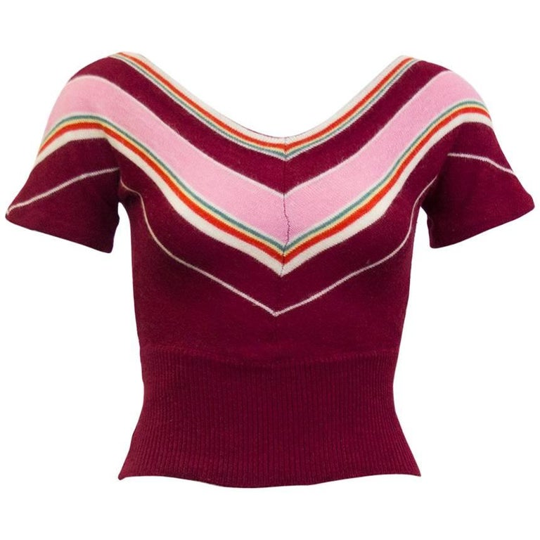 5146bf6b14 1960s Dorothe Bis Maroon, Pink and Green Chevron Stripe Sweater For Sale