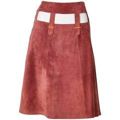 Gucci Mauve Tone A line 70's Suede Skirt