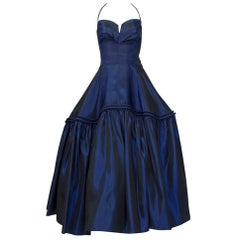 Parisian Debutante Sapphire Halter Gown with Tabletop Skirt, 1950s