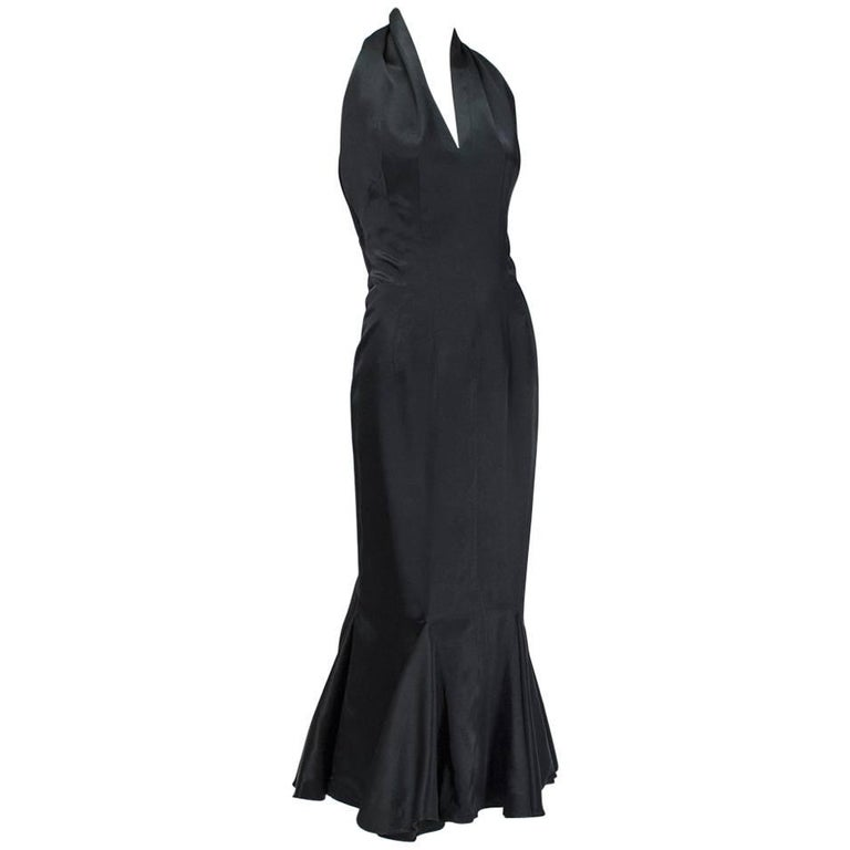 Backless Black Satin Mermaid Halter Gown, 1930s For Sale at 1stdibs