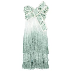 New Marchesa Ombré Fringed Bow Mini Silk Dress US 6 as seen on Eva Longoria