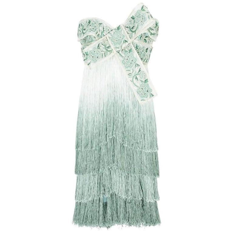 New Marchesa Ombré Fringed Bow Mini Silk Dress US 6