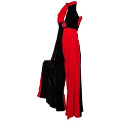 Frederick's of Hollywood Harlequin Velvet Halter Jumpsuit, 1960s