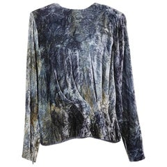 Yves Saint Laurent Blue and Green Dyed Velvet Top