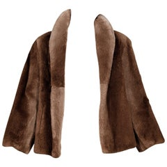 Incredibly Soft Vintage Brown Sheared Beaver Fur Swing Jacket or Coat