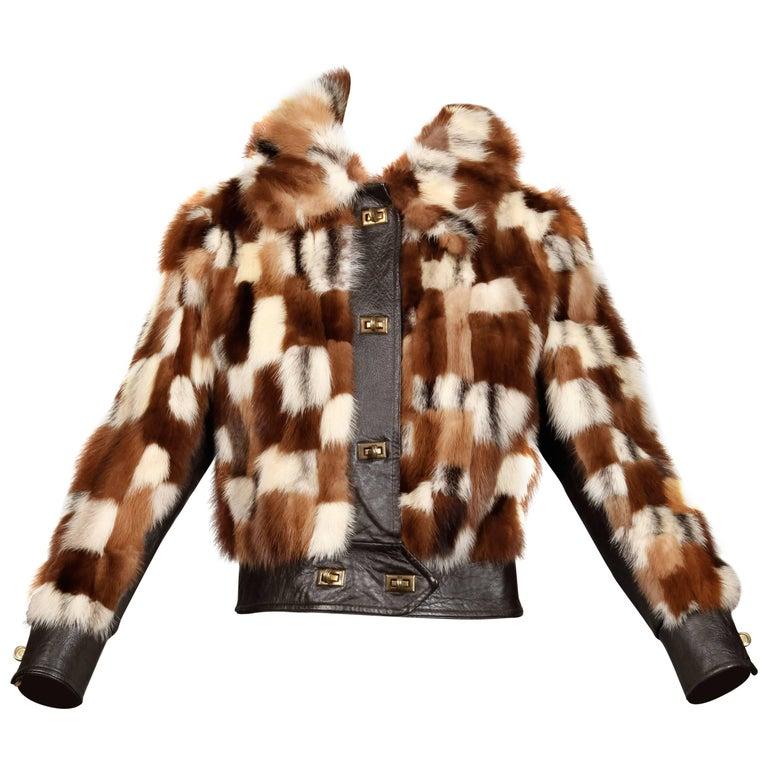 1970s Vintage Patchwork Multicolor Mink Fur + Brown Leather Jacket For Sale