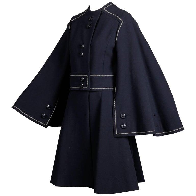 Convertible 1960s Ronald Amey Demi-Couture Vintage Wool + Silk Cape Dress Coat