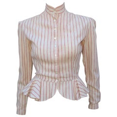 1970's Ralph Lauren Victoriana Linen Ticking Peplum Top
