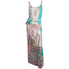 1970s Paganne Pink & Green Printed Jersey Sleevess Maxi Dress