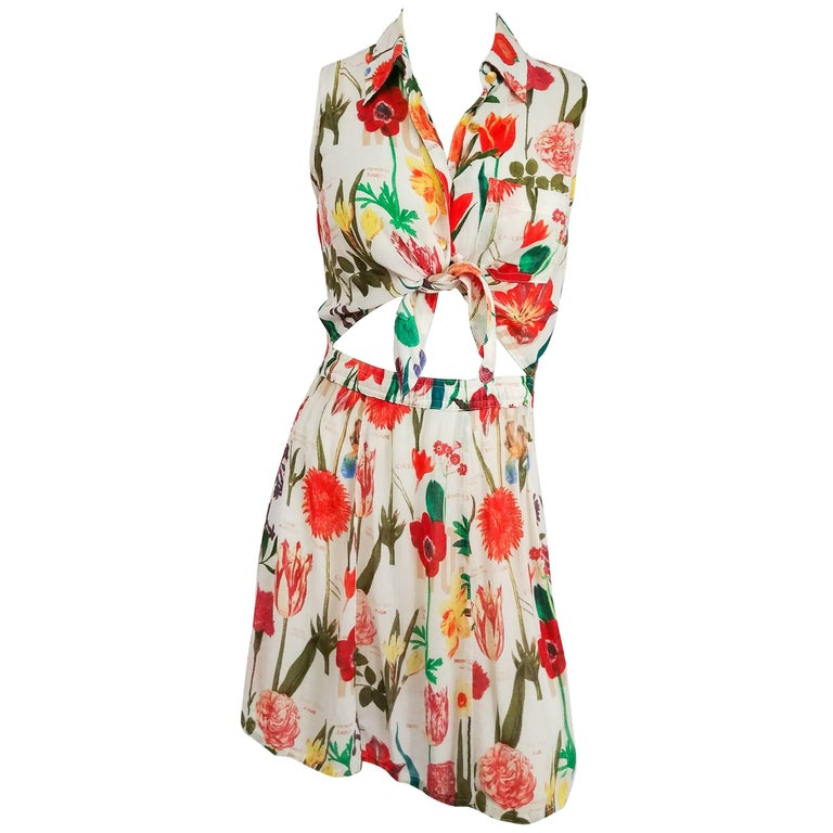 Moschino Floral Printed Tie Front Dress