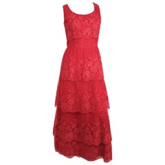 1950s Red Lace Tiered Gown