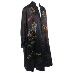1920s Wearable Art Embroidered & Painted Satin Coat