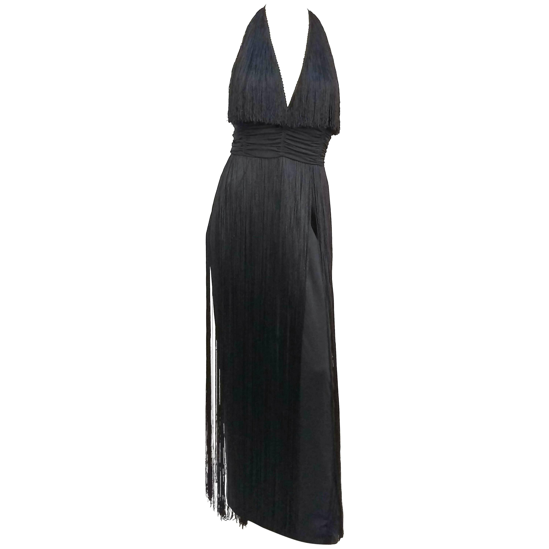 1970s Lilli Diamond Long Fringe Maxi Dress