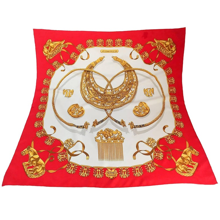 Hermes Red Les Cavaliers D'Or Scarf
