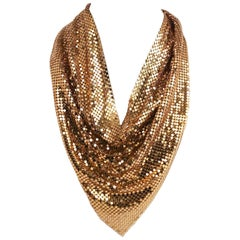 1970s Whiting & Davis Gold Tone Mesh Cowl Necklace