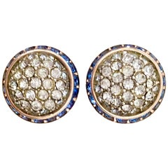 60'S Silver & Blue Sapphire Crystal Dome Earrings By Coro