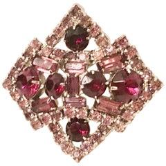 Vintage Eisenberg Style Sliver & Austrain Crystal Amethyst Brooch
