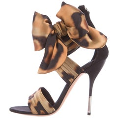 Giuseppe Zanotti New Black Gold Bow Tie Up Evening Sandals Heels