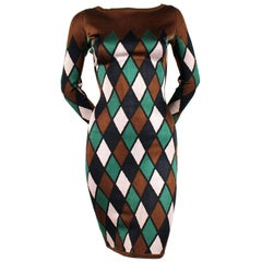1990's AZZEDINE ALAIA harlequin knit dress