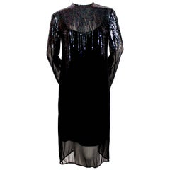 1970's HALSTON black sheer silk dress with sequined detail