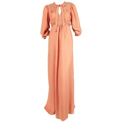 Ossie Clark salmon moss crepe maxi dress, 1970s