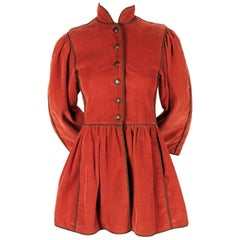 Yves Saint Laurent Russian collection corduroy coat with wood buttons, 1976
