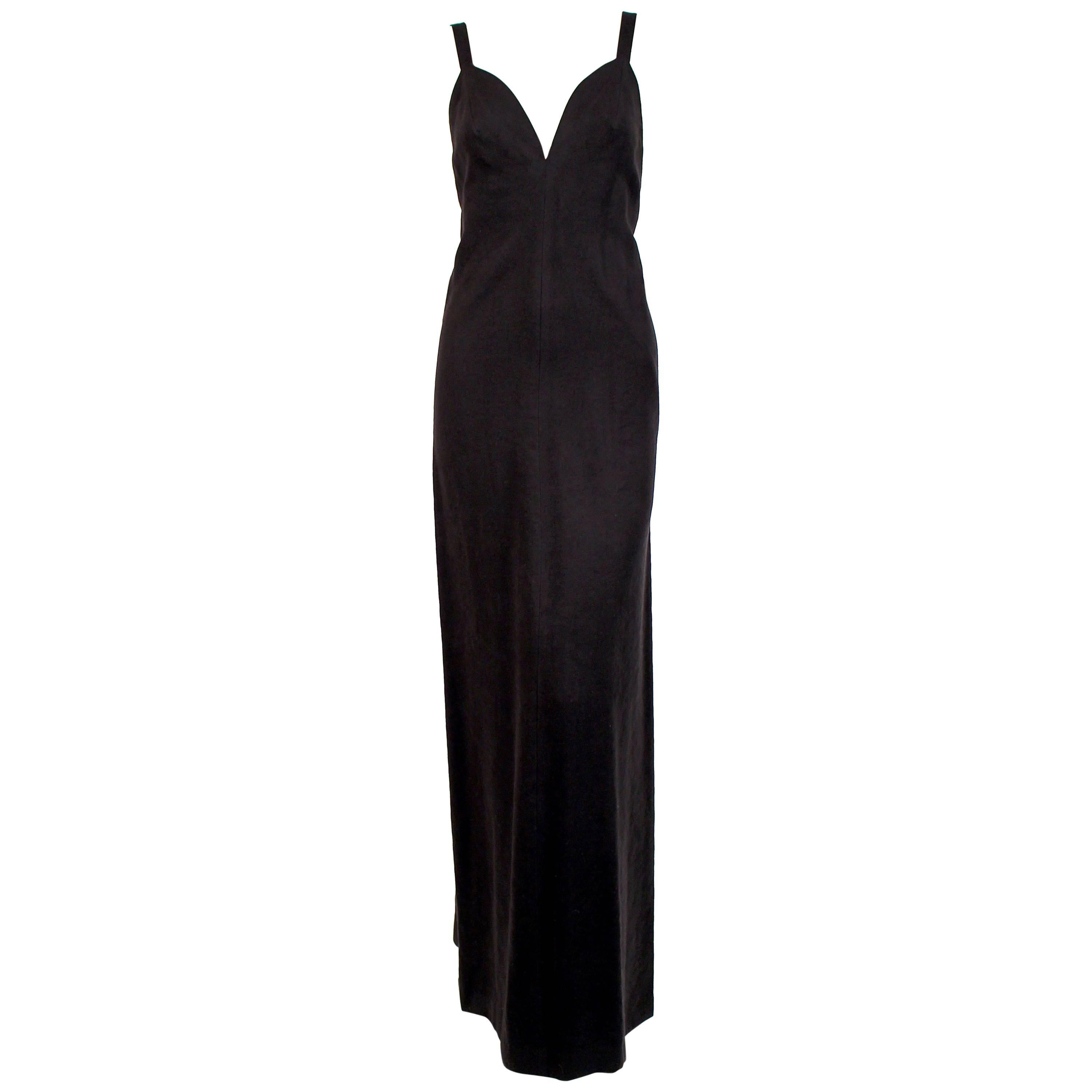 1970's ISSEY MIYAKE black ultrasuede gown with plunging neckline and low back