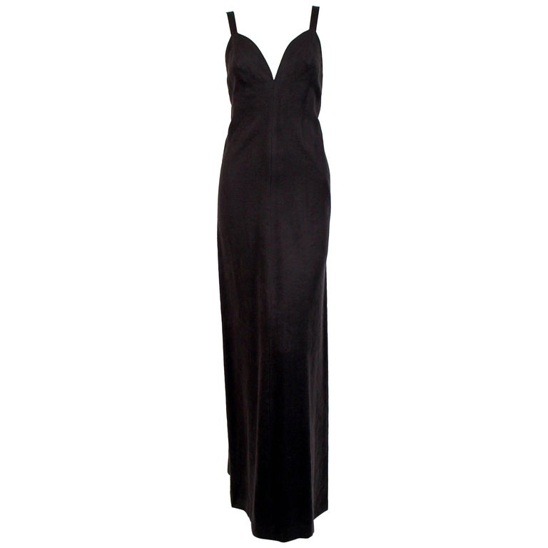 1970's ISSEY MIYAKE black ultrasuede gown with plunging neckline and low back For Sale