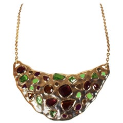 1980's YVES SAINT LAURENT faceted crystal and enamel bib necklace
