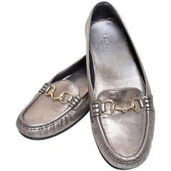 Gucci Womens Metallic Loafer Driver Shoes with Horse Bit Buckles Size 37.5