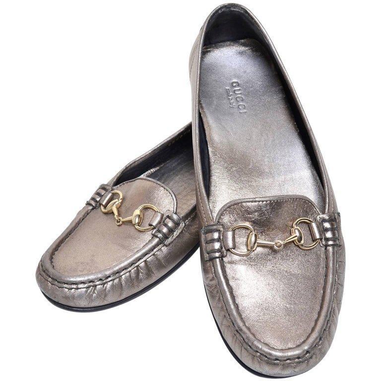 f5f14cca1dfe Gucci Womens Metallic Loafer Driver Shoes with Horse Bit Buckles Size 37.5  For Sale