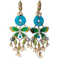 2006 Christian Dior Asian-inspired drop clip-on earrings