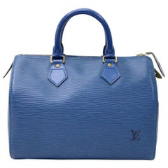 Vintage Louis Vuitton Speedy 25 Blue Epi Leather City Hand Bag