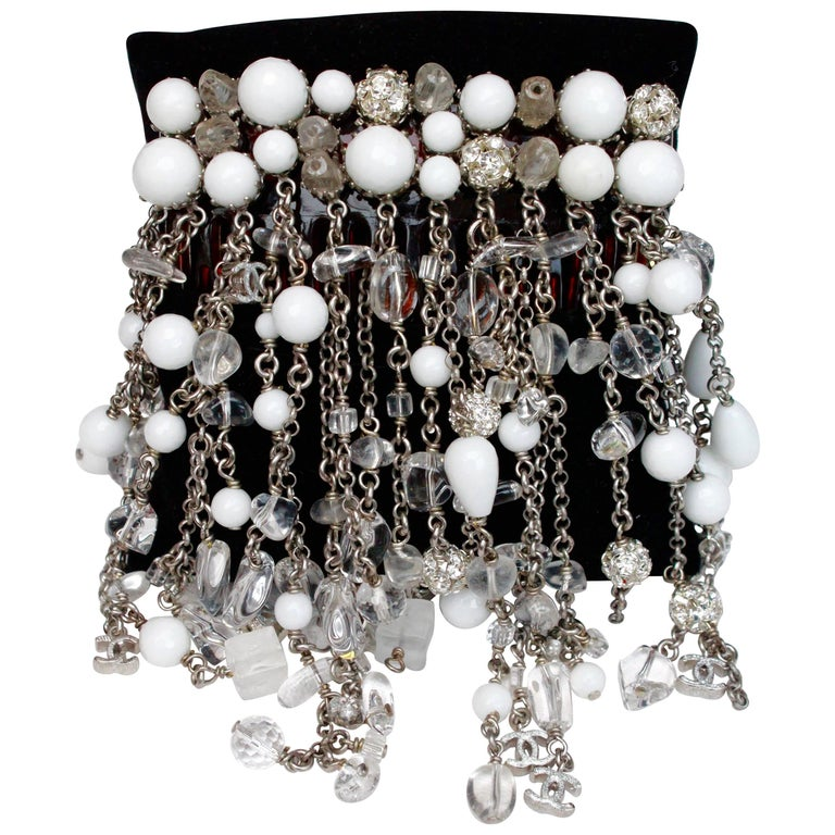 2010s Chanel hair comb embellished with white beads, crystal and rhinestones