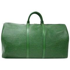 Vintage Louis Vuitton Keepall 55 Green Epi Leather Duffle Travel Bag