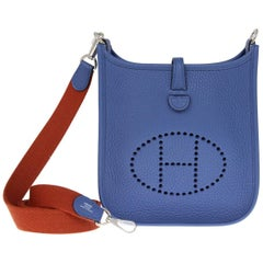 2010s Hermès Agate Blue Mini Evelyne Bag