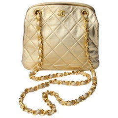 Chanel quilted golden leather small evening bag, 1980s