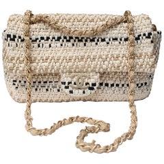 """2000s Chanel beige and black """"Jumbo"""" bag"""