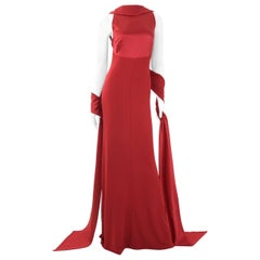Vintage 90s Gianfranco Ferre Couture Evening Gown in Red Jersey and Satin