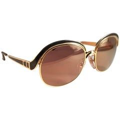 New Vintage Christian Dior 2037 44 Gold & Black Sunglasses Austria